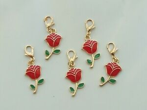 5 Stitch Markers RED ROSE Enamel,Gold Plated.Knitting,Crochet,Charms etc