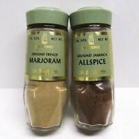 Vintage McCormick Green Top Lids Glass Spice Jars Bottles Allspice & Marjoram