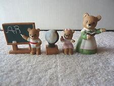 "Vintage Homco # 1409 Set Of 4 "" School Bears "" Great Collectible Displayable Set"