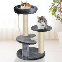 PawHut Cat Tree Scratcher Kitty Activity Center 2 Perch Sisal Rope Grey
