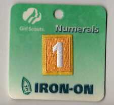 ~#1 One~Yellow Daisy Girl Scouts Troop Number Numeral Badge Patch~NEW