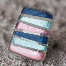 Neu RING farbe silber CAPIZ MUSCHEL blau/türkis/rosa GRÖßENVERSTELLBAR