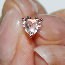 Heart Shape Morganite Stud Earrings 14k Rose Gold Over 925 SS 6mm