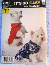 Simplicity Sewing Pattern Its So Easy A1271 Sizes XS-M Dog Coat Uncut
