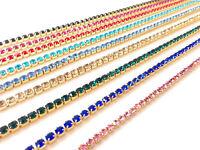 1m Diamante/Rhinestone Crystal Colour Chain Trim Lace Gold Base