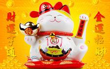 """Ceramic Lucky Waving Cat Japanese Maneki Neko Chinese Feng Shui Fortune NEW 9"""""""