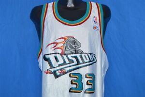 vtg 90s DETROIT PISTONS GRANT HILL #33 CHAMPION WHITE BASKETBALL JERSEY SZ 48