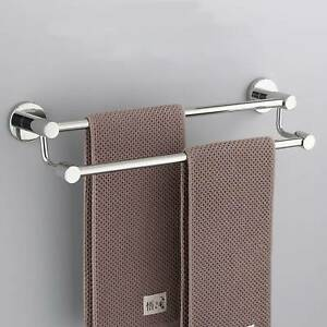 60cm Stainless Steel 2 Rod Towel Rail Rack Bathroom Shelf Holder Wall Mounted