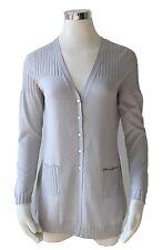 Damen Long Cardigan Taschen Seide+Baumwolle,Gr.XXL/44,Fb.silber,Räumungsverkauf