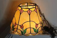 Vintage Slag Glass Hanging Chandelier Light Fixture Multi Color Flowers 8 Sided