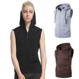 Men Casual Hoodie Sleeveless Zipper Jacket Vest Waistcoat Hooded Coat Tank Tops