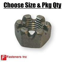 Hex Slotted Nut Plain Black Steel Castle Type Nuts - Select Size