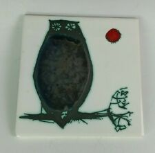 """vintage H & R Johnson Owl Design Tile 6"""" x 6"""" Made in England"""