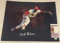 BOB GIBSON SIGNED ST LOUIS CARDINALS 16x20 METALLIC PHOTO COA JSA K90750