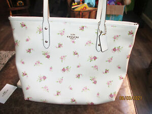 Great SPRING Coach F29487 Pink Floral Sprigs Coated Canvas TOTE Purse & Wallet