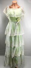 VTG 70s Off Shoulder UNION MAXI PRAIRIE HIPPIE BOHO DRESS Nadine Floral Lace S/M
