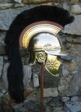 18ga Brass Sca Larp Medieval Roman Celtic Helmet With Black Plume