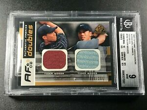 TIGER WOODS 2003 UPPER DECK SP AUTHENTIC GOLF DUAL JERSEY /200 BGS 9 W/ 10 SUB