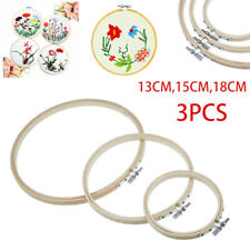 3pc Embroidery Hoops Bamboo Circle Cross Stitch Hoop Ring Set 13/15/18cm Us