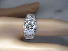 Beautiful 14K White Gold Plated 1.25Ct 7.0mm White Diamond Unisex Ring