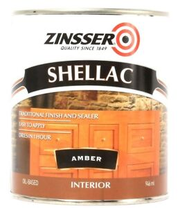 1 Can Zinsser 32 Oz Shellac 331308 Amber Traditional Finish & Sealer Easy Apply