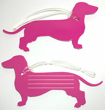 Dachshund Bag / Luggage Tag Pink - Flexi PVC - Sausage / Weiner Dog / ダックスフンド