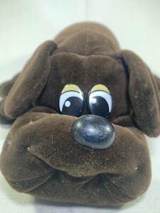 "Vintage 1985 80's Pound Puppies dark brown plush puppy Lrg 18"" - Excellent w/tag"