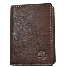 Timberland Mens Natural Grain Leather Trifold Wallet Brown