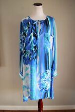 BCBG MAXAZRIA Blue Floral Print Dress DARELL Shift Long Sleeve Size L