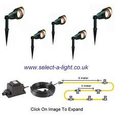 Low Voltage Garden Spot Lights (5 SET) - Plug and Play - 15 Metre Single Leg