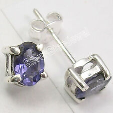 925 PURE Silver Real IOLITE TRADITIONAL Stud POST Earrings .7 CM GIFT FOR FRIEND