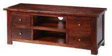 Traditional Maharani Dark Wood Tv Cabinet with 4 Drawers in Dark Mahogany Hue
