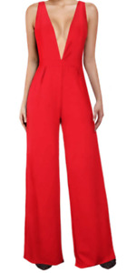 BCBG MaxAzria Women's Deep V Wide Leg Jumpsuit Club Romper Pants RED A474 *S
