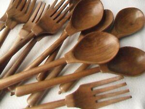 Job Lot - Six Pairs Wooden Salad Servers - Forks & Spoons