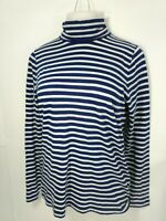 J Crew Women Shirt Top Striped Long Sleeve Turtleneck Cotton Blue & White New