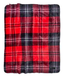 "Victorias Secret Sherpa Blanket Red & Black Plaid  60"" x 50"""