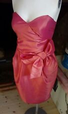 Ladies coral satin strapless occasion dress, size 10, Dorothy Perkins