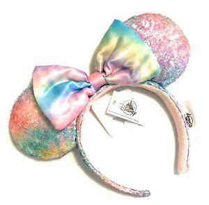 Disney Parks Minnie Pastel Sequin Rainbow Padded Bow Headband Ears - NEW