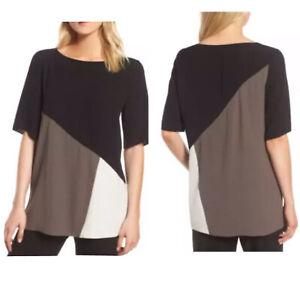 Eileen Fisher Top Blouse Tunic Silk Georgette Crepe Black Cream Sz Large