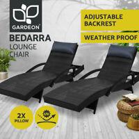 Gardeon Sun Lounge Setting Wicker Lounger Day Bed Outdoor Furniture Patio Rattan