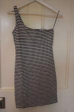 River Island Black & White Stripe One Shoulder Bodycon Dress, Size 10