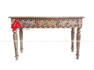 Teak Wood Bone Inlay 3 Drawer Console Table