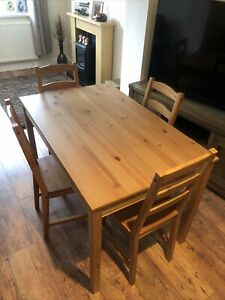 Ikea Wooden Dinning Table And 4 Chairs Used