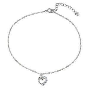 Sterling Silver Anklet Bracelet w/ Dangling CZ Stones Open Heart