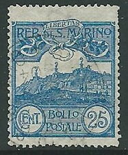 1903 SAN MARINO USATO VEDUTA 25 CENT - M5-9