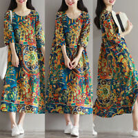 UK 8-24 Women Floral Printed Dress 3/4 Sleeve Casual Loose Long Shirt Dresses