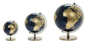 Blue & Gold Vintage World Globe Office Desk Ornament Home Deco Choice of Size