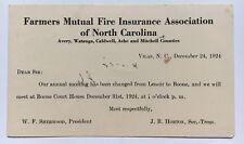 1924 U.S. One Cent Postal Card Farmers Mutual Fire Insurance North Carolina