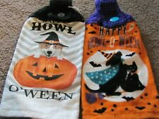New listing Lot Of Two Plush Hand Crocheted Top Hanging Kitchen Halloween Dogs