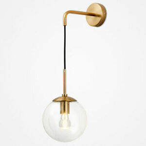 Modern Glass Ball Wall Lamp Gold Wall Sconce Light Fixtures for Bathroom Bedroom